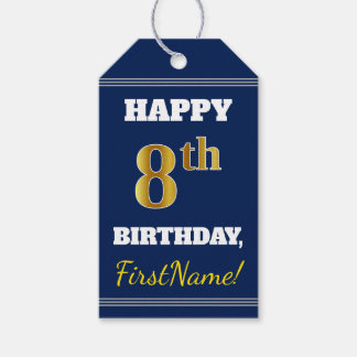 青、模造のな金ゴールドの第8誕生日 + 名前をカスタムする ギフトタグ