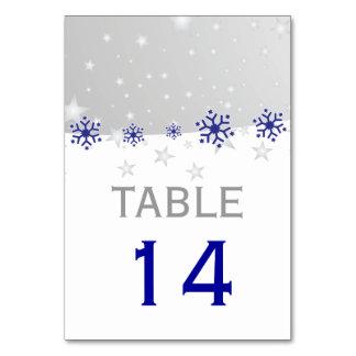 青、灰色の雪片のモダンな結婚式のテーブル数 カード