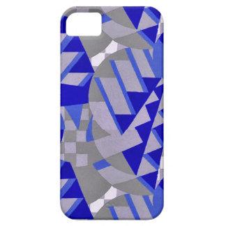 青/灰色の20年代のアール・デコのデザインのタイ iPhone SE/5/5s ケース