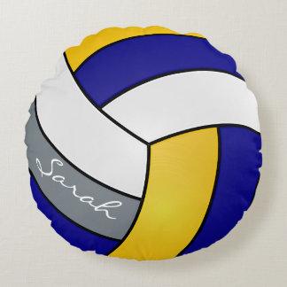 青、灰色、黄色および白いバレーボール| DIYの名前 ラウンドクッション