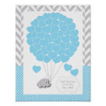 青、白い灰色象のベビーシャワー2 -ゲスト ポスター