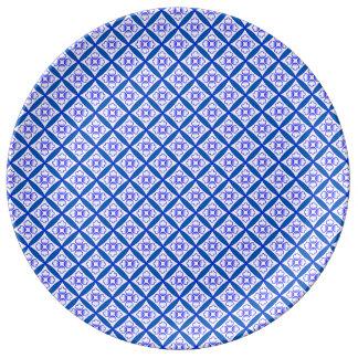 青、白く伝統的なカテドラルのパッチワークのデザイン 磁器プレート