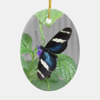 青、白黒蝶オーナメント セラミックオーナメント