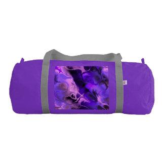 青、紫色およびピンクのカラフルなフラクタルの芸術 ジムダッフルバッグ
