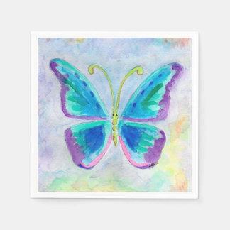 青、紫色およびマゼンタの蝶カクテルのナプキン スタンダードカクテルナプキン