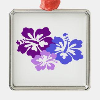 青、紫色および薄紫の項目ハイビスカスの花 メタルオーナメント