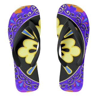 青、紫色、黄色およびブラックプレートパターン ビーチサンダル