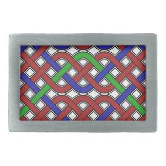 青、緑および赤いケルト結び目模様 長方形ベルトバックル