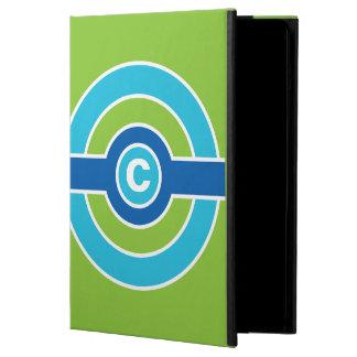 青/緑の円のカスタムなモノグラムのケース iPad AIRケース