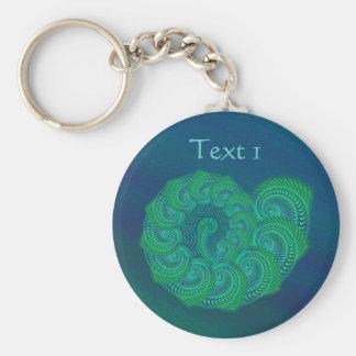 青、緑の貝。 抽象美術の設計 キーホルダー