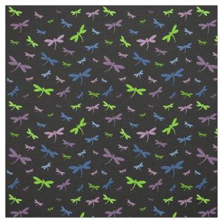 青、緑トンボパターン-および紫色 ファブリック