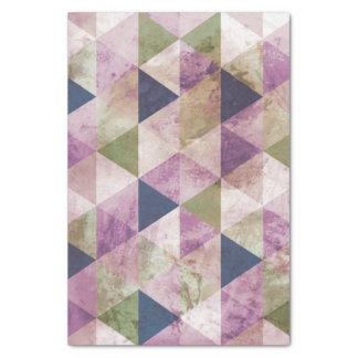 青、緑及び紫色の三角形の幾何学的設計 薄葉紙