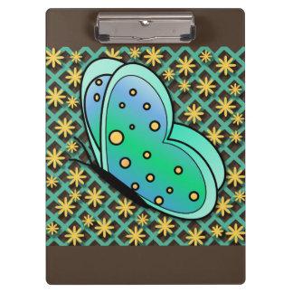 青、緑、および黄色の蝶クリップボード クリップボード