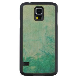青、緑、および黒いペンキの抽象芸術の紙 CarvedメープルGalaxy S5スリムケース