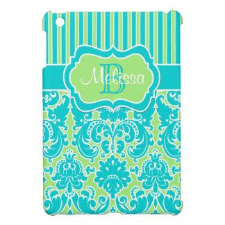青、緑、白くストライプのなダマスク織のiPad Miniケース iPad Miniケース