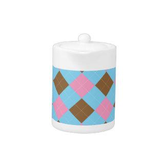 青、茶色およびピンクの格子縞パターン