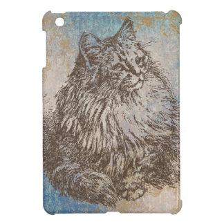 青、茶色および金ゴールドのヴィンテージの子猫 iPad MINIケース