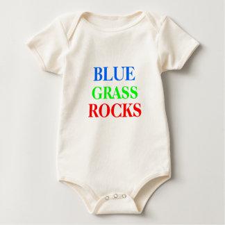青、草、石 ベビーボディスーツ