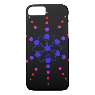 青、赤いおよびピンクの花いっぱいのビーズ iPhone 8/7ケース