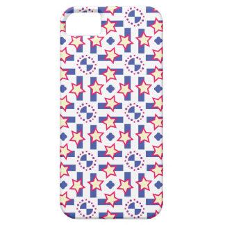 青、赤くおよび黄色のスターバストのデザイン iPhone SE/5/5s ケース