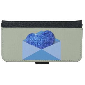 青、郵便、iPhone 6の財布カバーでハート iPhone 6/6s ウォレットケース