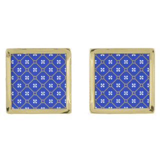 青、金ゴールドおよび白い中世パターンカフスボタン ゴールド カフスボタン
