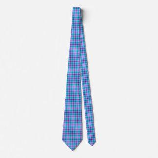 青、黒いおよびピンクの格子縞 ネクタイ