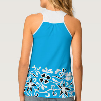 青、黒く及び白い花パターン タンクトップ
