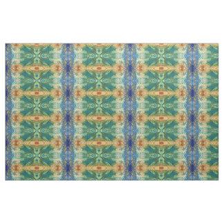 青、Bohoの珊瑚の、クリーム色及び緑の生地「San Diego ファブリック