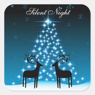 静かな夜シカおよびクリスマスツリーのステッカー スクエアシール
