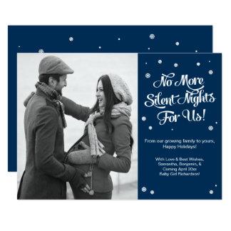 静かな夜妊娠のクリスマスの発表 12.7 X 17.8 インビテーションカード