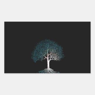 静かな夜生命の樹 長方形シール