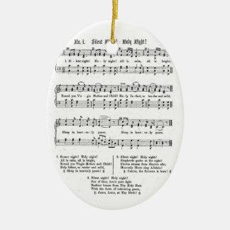 静かな夜神聖な夜楽譜のクリスマスの歌 セラミックオーナメント
