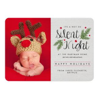 静かな夜誕生の発表の休日カード カード