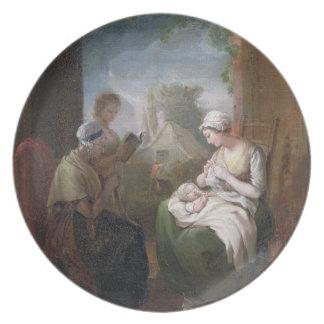 静かな時間、c.1810 (キャンバスの油) プレート