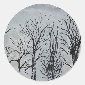 静かな木 ラウンドシール