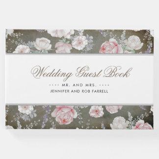 静かにピンクおよび白い花のヴィンテージのぼろぼろの結婚式 ゲストブック