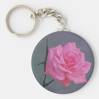 静かにピンクのバラの花 キーホルダー