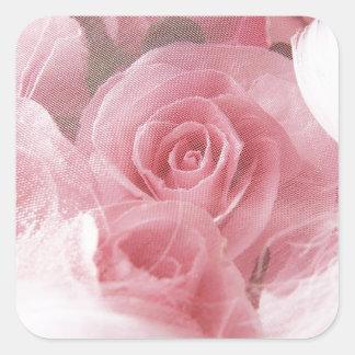静かにピンクのバラ スクエアシール