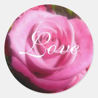 静かにピンクのバラ、愛 ラウンドシール