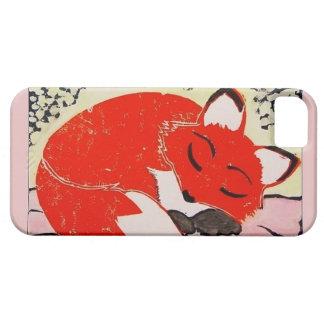 静かにピンクのボーダーとの眠いキツネのiPhone 5/5sの場合 iPhone SE/5/5s ケース