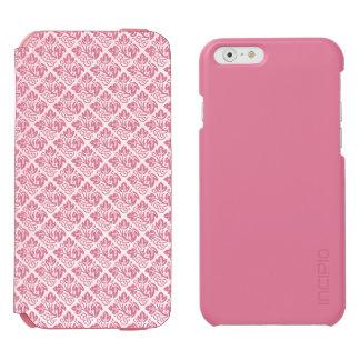 静かにピンクはカシの葉パターンをタイルを張りました INCIPIO WATSON™ iPhone 6 ウォレットケース