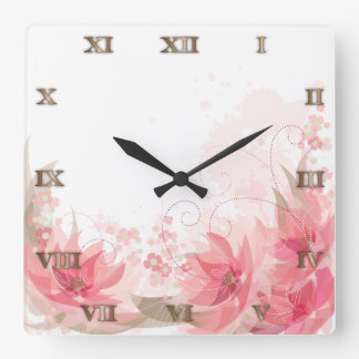 静かにピンク及び真鍮の花-時計- 1 スクエア壁時計