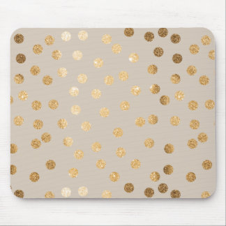 静かにベージュ色および金ゴールドのグリッター都市点 マウスパッド