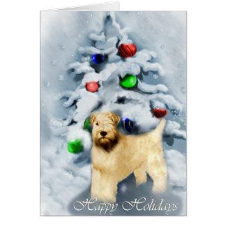 静かに上塗を施してあるWheatenテリアのクリスマス カード