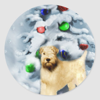 静かに上塗を施してあるWheatenテリアのクリスマス ラウンドシール