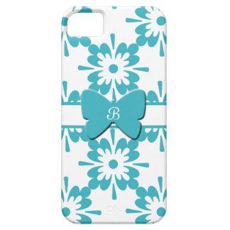 静かに青および白い花+Butterlyかモノグラム iPhone SE/5/5s ケース
