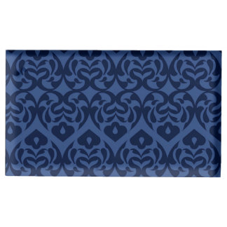 静かに青の複雑な濃紺のハートパターン テーブルカードホルダー