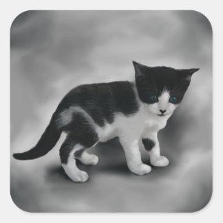 静かに黒く及び白い子ネコ スクエアシール