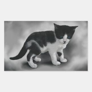 静かに黒く及び白い子ネコ 長方形シール